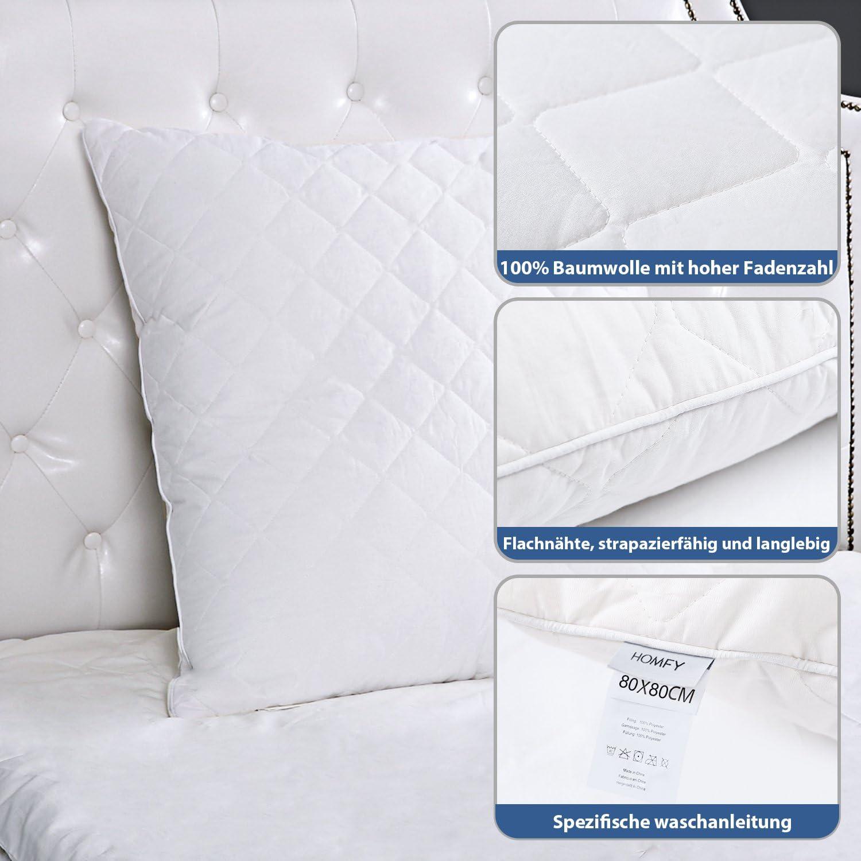 Hypoallerg/énique HOMFY Oreillers de lit Garnissage 100/% Fibre de Polyester 1 Paquet Taie doreiller 100/% Coton Lavable en Machine 43x63cm