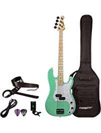 Sawtooth 4 String EP Series Electric Bass Guitar with Gig Bag & Accessories, Surf Green w/White Pearloid Pickguard, Right...