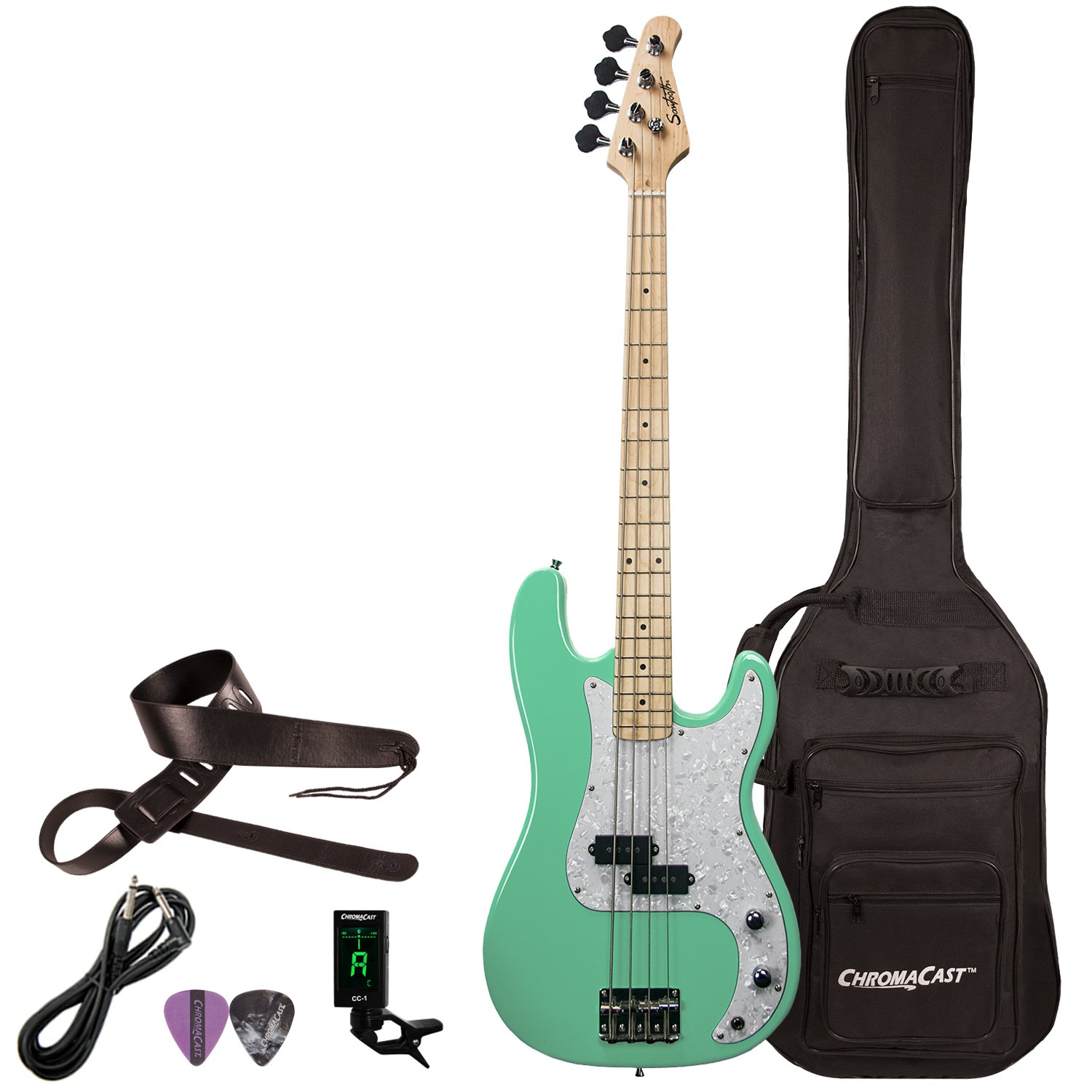 Sawtooth ST-PB-SGRP-KIT-1 EP Series Electric Bass Guitar with Gig Bag & Accessories, Surf Green with White Pearloid Pickguard