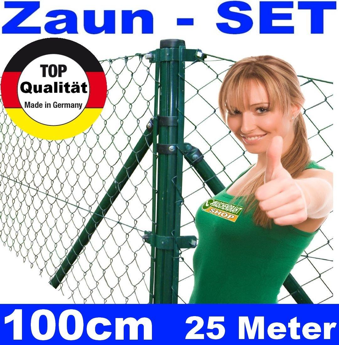 Maschendrahtzaun SET 100cm 25 Meter lang Maschendrahtzaun zaun