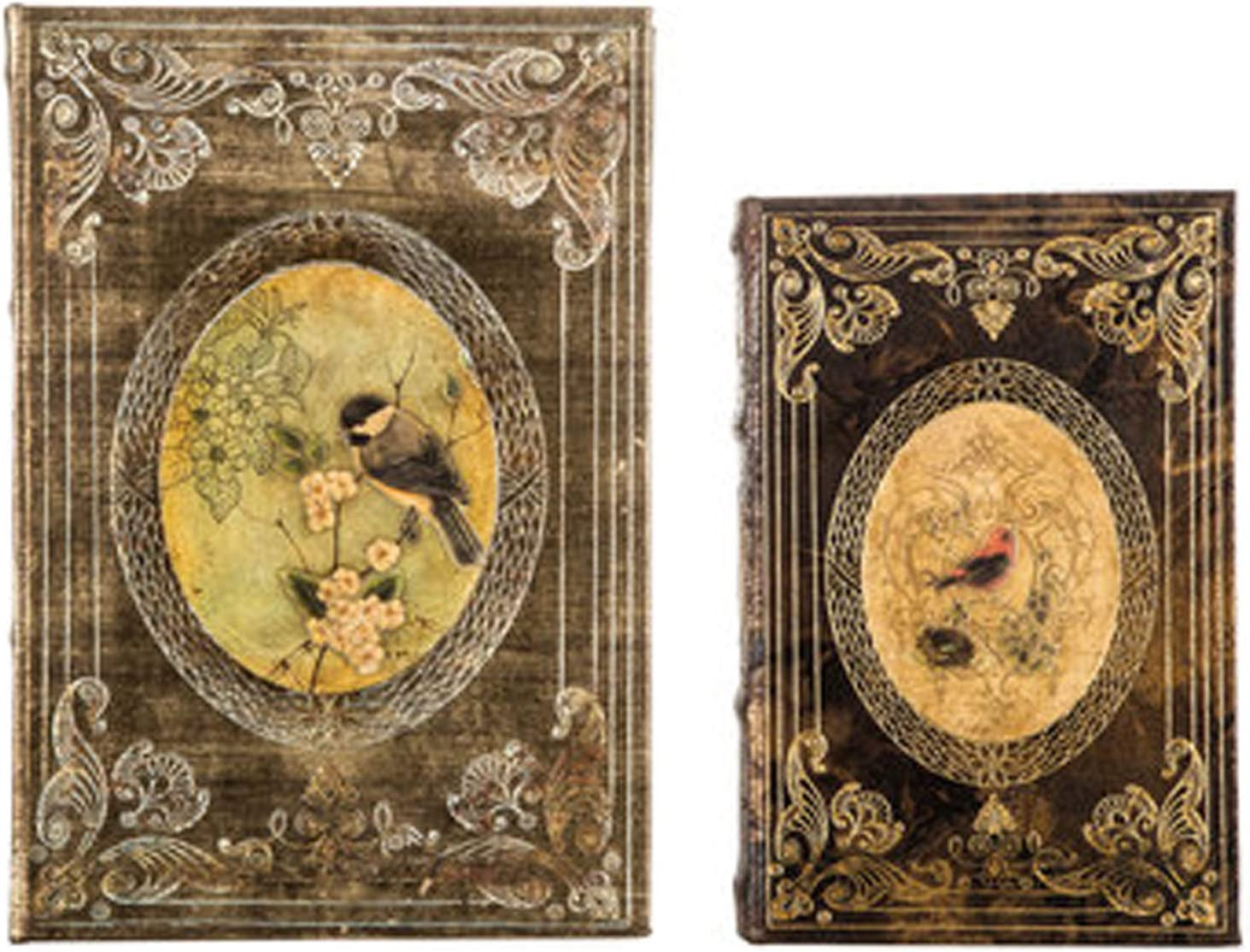 Wisechoice 2 Pieces Vintage Book Box Set with Birds Design   Perfect for Bookshelves and Desks Display