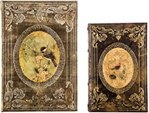 Wisechoice 2 Pieces Vintage Book Box Set with Birds Design | Perfect for Bookshelves and Desks Display