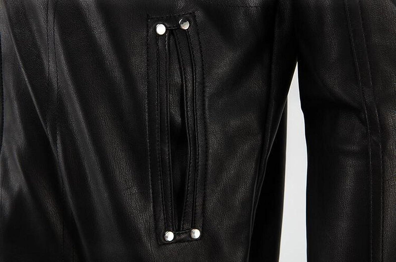 Jinmen Men/'s Premium Pu Leather Motorcycle Bomber Jacket with Hood