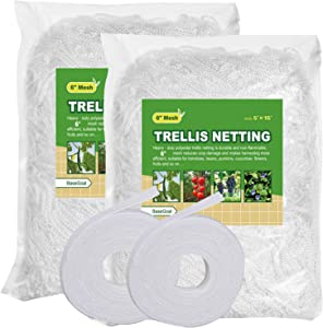 BaseGoal All-Weather Trellis Netting Mesh Plant Garden Vine Growing Flexible String Net (6