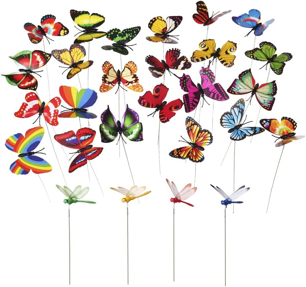 MINI-FACTORY 24pcs Butterfly & Dragonfly Stakes Outdoor Yard Garden Flower Pot Decoration (20pcs Butterflies + 4pcs Dragonflies)