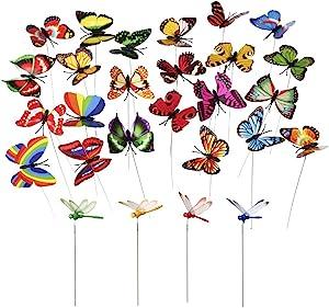 MINI-FACTORY 24pcs Butterfly & Dragonfly Stakes Outdoor Yard Garden Flower Pot Decoration (20pcs Butterflies + 4pcs Dragonflies)