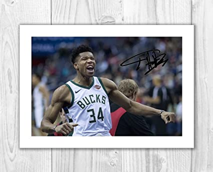 Giannis Antetokounmpo - Milwaukee Bucks - NBA 1 SP - Signed Autograph Reproduction Photo A4 Print