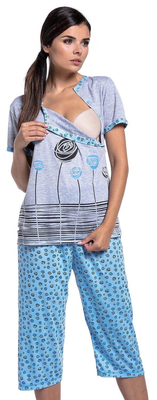 Zeta Ville - Womens maternity crop pants pyjamas nursing short sleeves - 076c nursing_night_076