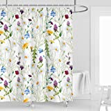 Kikiry Wild Flower Shower Curtain 60''W x 72''L Floral Dasiy Tansy Colorful Spring Polyester Fabric Waterproof 12 Pack Plasti