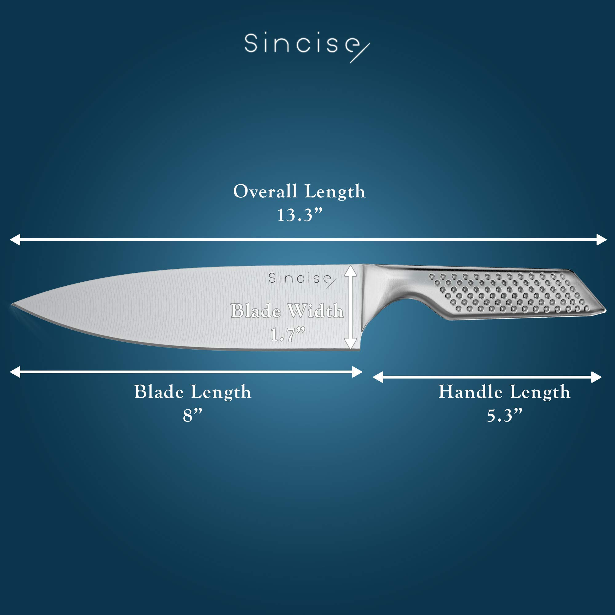 Professional 8 Inch Japanese Chef Knife | Razor Sharp Blade Made of High Carbon German Steel | Ergonomic One-Piece Chef's Knife| Perfect in Kitchen for Cutlery and Vegetable - by SINCISE (8 inch) by Sincise (Image #8)