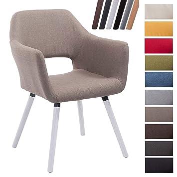 CLP Chaise De Salle Manger Auckland Tissu I Design Scandinave Confortable Avec Accoudoirs Pieds