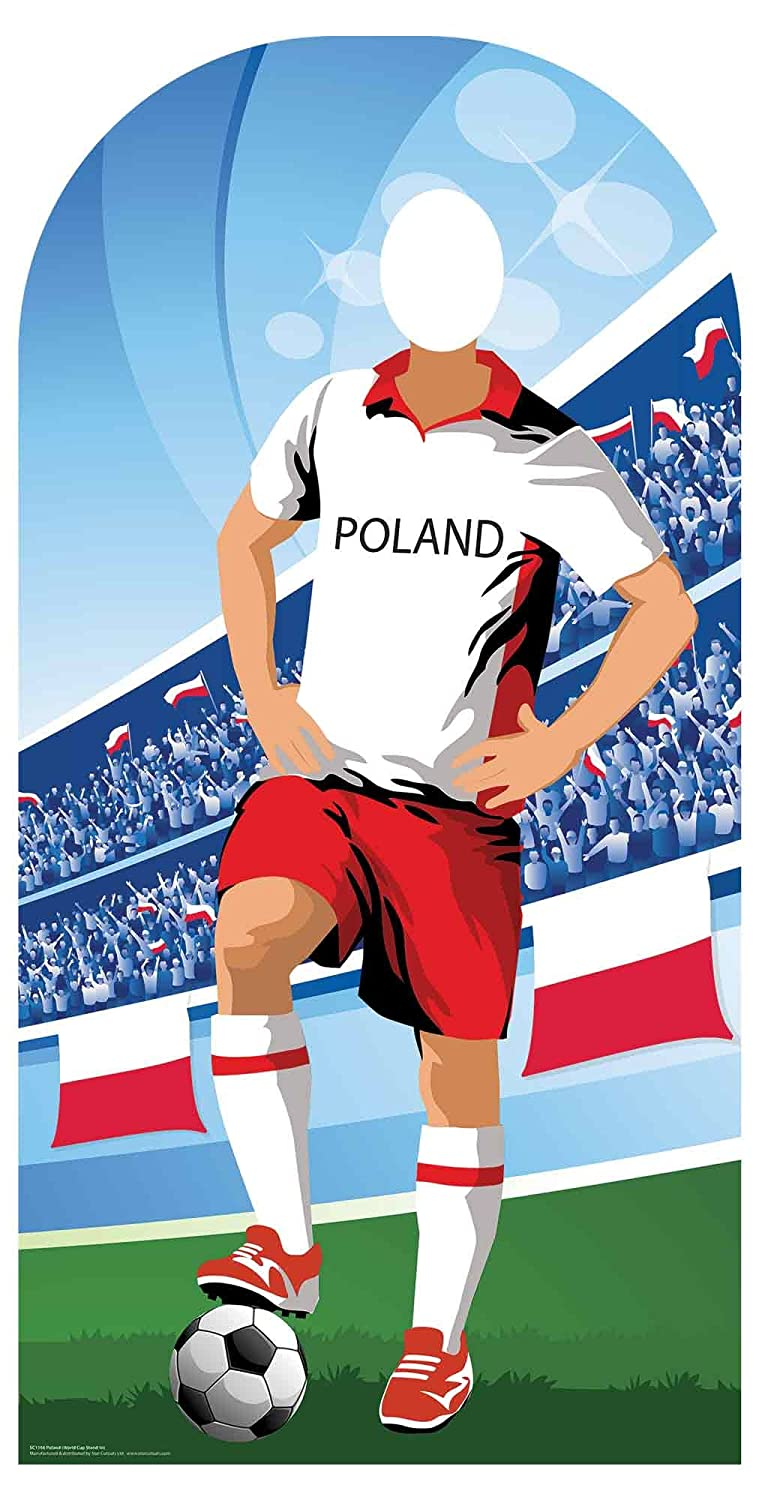 Polonia (World Cup Football Stand-in) Adulto Tamaño 6 Ft /190 cm de Alto con Libre Mini Destop Cut out