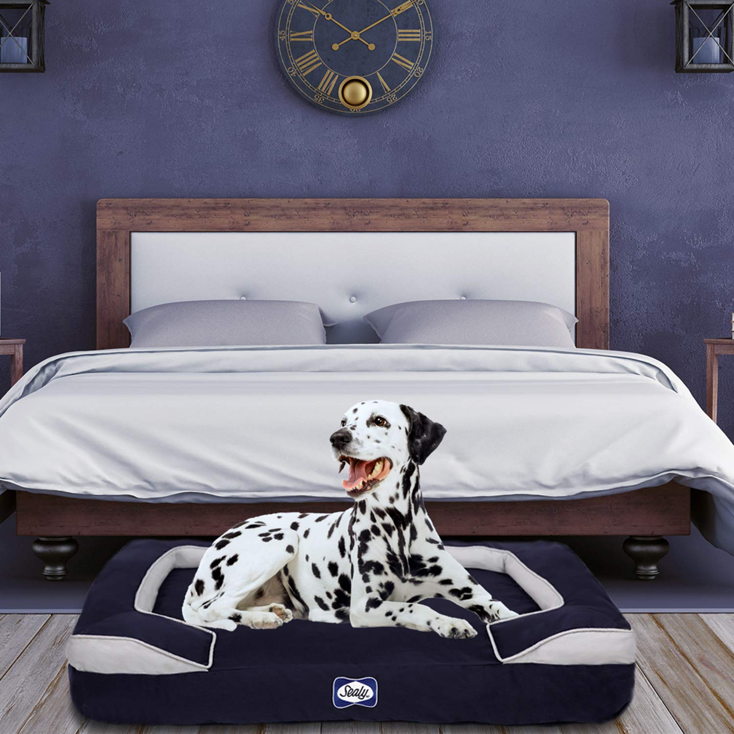 Navy L Navy L Sealy Dog Bed Cushy Cuddler   Crushed memory and orthopedic foam bolstered dog bed, Large Navy