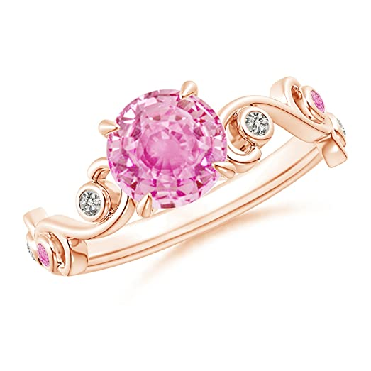 Angara Pink Sapphire and Diamond Ivy Scroll Ring TMooSLn