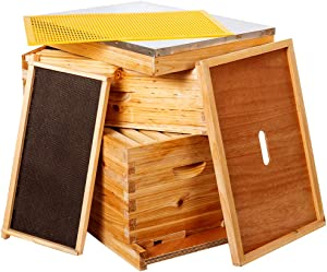 10-Frames Complete Beehive Kit, Wax Coated Bee Hive Includes Frames and Beeswax Coated Foundation Sheet (2 Layer)