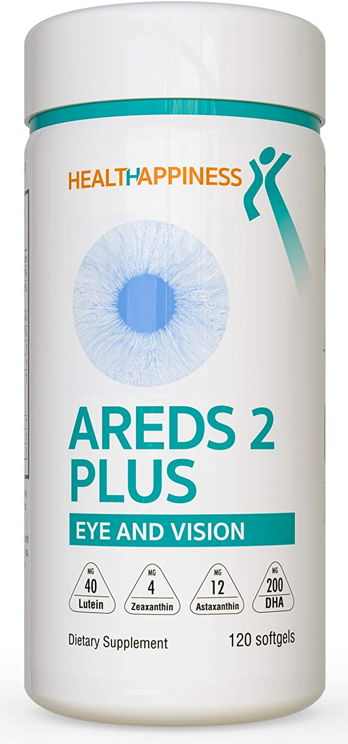 HealtHappiness AREDS 2 Eye Vitamins for Macular Health, Dry Eyes and Digital Eye Strain – Lutein and Zeaxanthin Supplements for Adults – Eye Vitamins for Computer Users and Gamers – 120 softgels