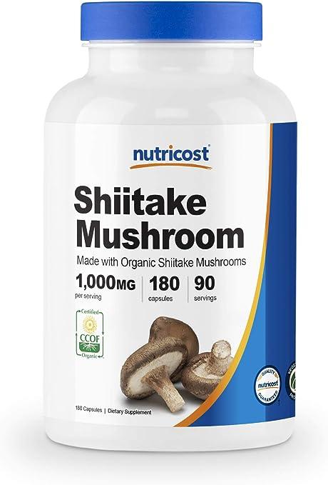 Nutricost Organic Shiitake Mushroom Capsules 1000mg, 90 Servings - Certified CCOF Organic, Vegetarian, Gluten Free, 500mg Per Capsule, 180 Capsules