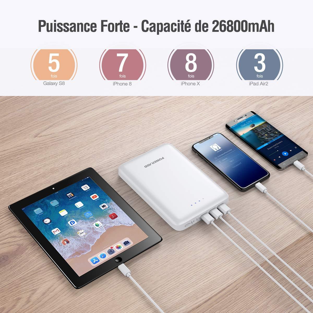 POWERADD Batterie Externe 26800mAh Pilot Pro 4 avec 3 Ports Sortie USB et 2 Ports Entrées Grande Capacité Chargeur Portable pour iPhone, iPad, iPod, Samsung Galaxy, des Autres téléphones - Blanc