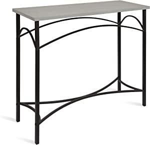 Kate and Laurel Strand Console Table, Rustic Gray Wood Top with Iron Legs