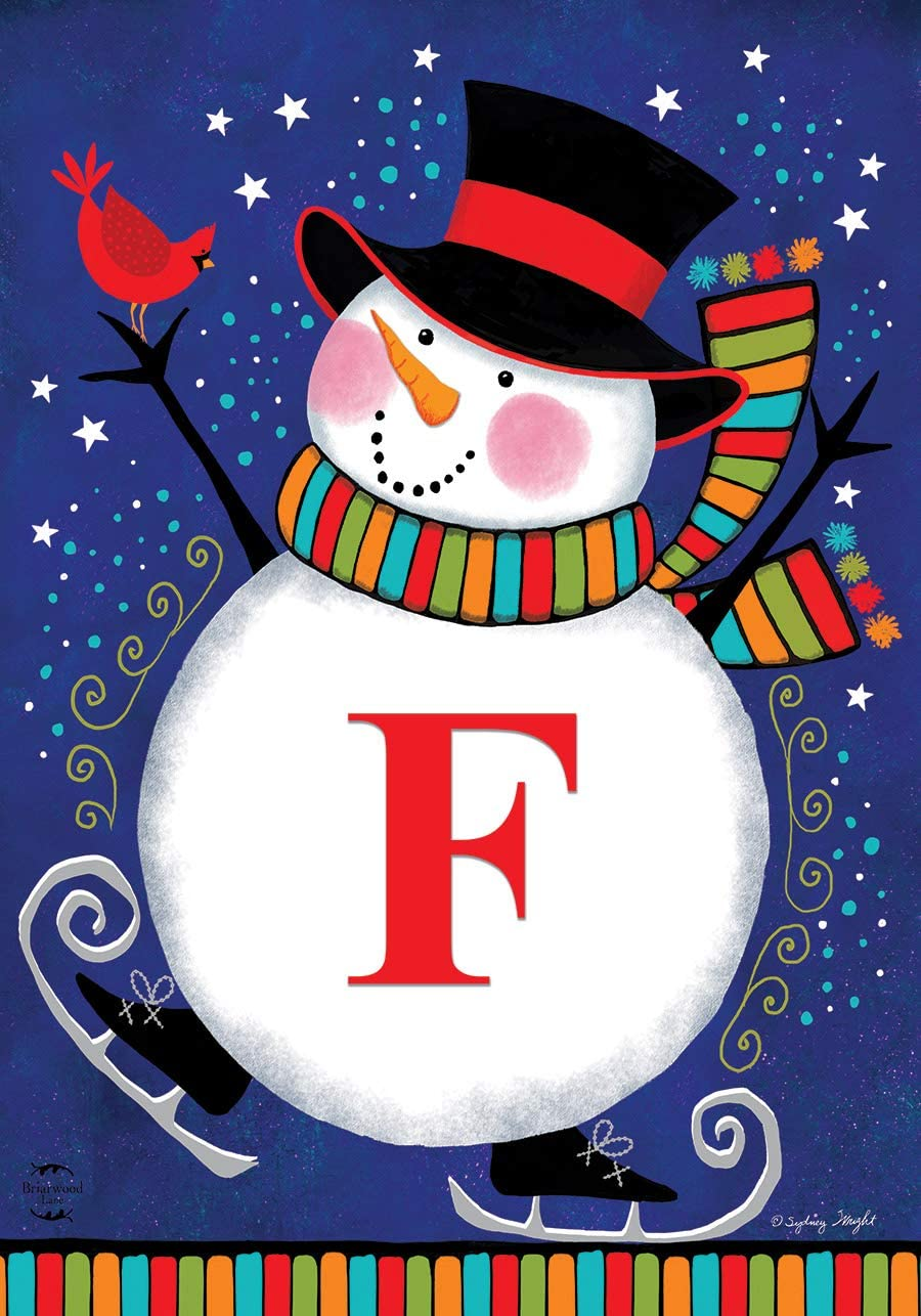 "Briarwood Lane Winter Snowman Monogram Letter F Garden Flag 12.5"" x 18"""