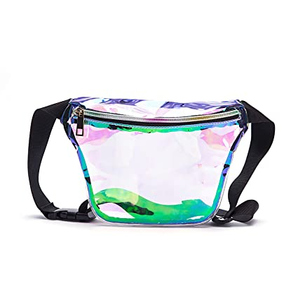 6d1210b9195c Holographic Cool Style Transparent fanny pack For Women Girls 80s Festival  Rave Personality Fashion Waist Belt bag-Holographic Transparent