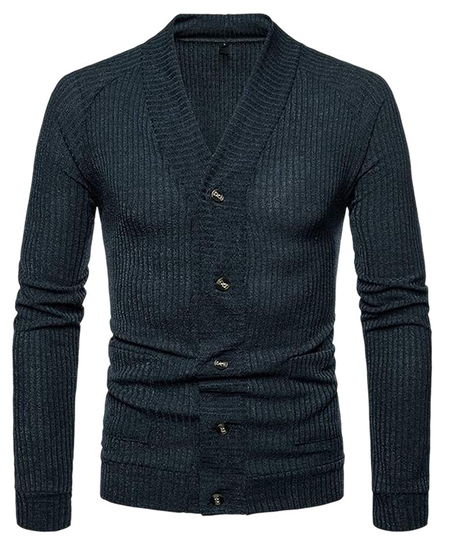 WSPLYSPJY Mens Pure Color Long Sleeve V Neck Single Breasted Open Front Sweaters Outwear