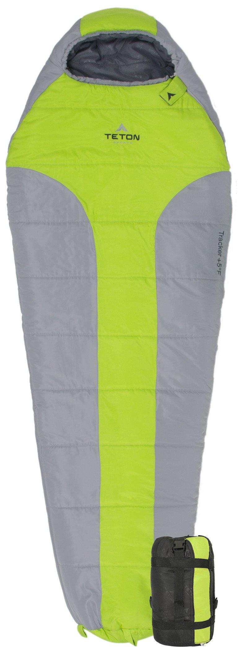 TETON Sports Tracker Scout Ultralight Mummy Sleeping Bag; Lightweight Backpacking Sleeping Bag for Hiking and Camping Outdoors; All Season Mummy Bag; Sleep Comfortably Anywhere; Green/Grey