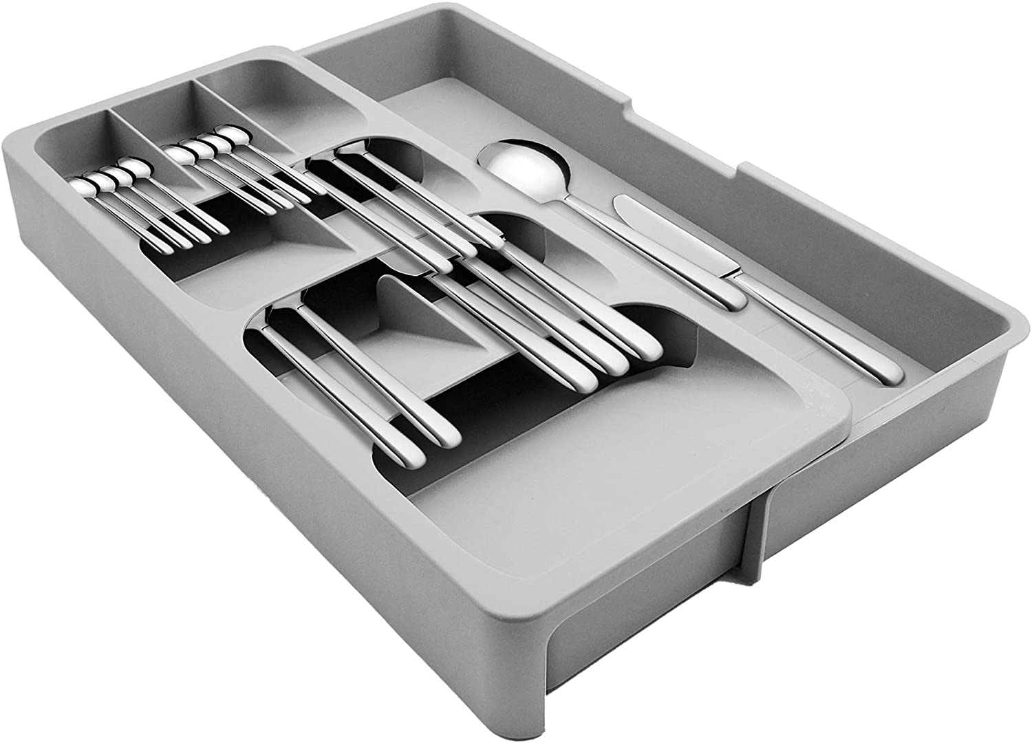 POTTIIS Kitchen DrawerStore Expandable Set,Expandable Plastic Kitchen Cabinet Drawer Storage Organizer Tray - for Storing Organizing Cutlery, Spoons, Cooking Utensils, Gadgets