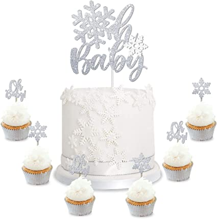 Snowflake Oh Baby Cake Cupcake Toppers Winter Baby Shower Silver Glitter Decorations Wonderland Christmas Gender Reveal Party Supplies