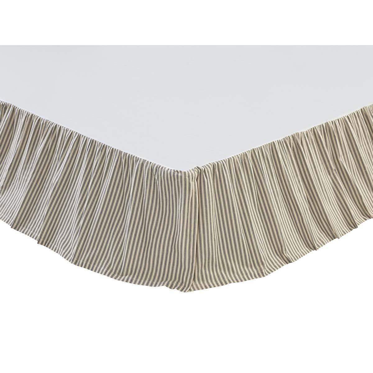 VHC Brands Farmhouse Kendra Stripe White Bed Skirt, Queen, Black