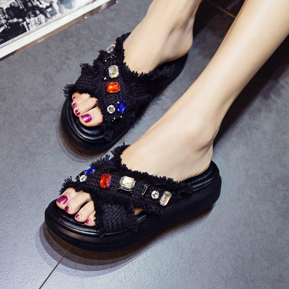 PENGFEI Pantofola Zapatillas Verano De Las Mujeres Fondo Grueso Medio Talón Diamante De Imitación Borla, Altura del Tacón 4.5 CM, 2 Colores (Color : Negro, Tamaño : EU43/UK8/US9.5/265) EU43/UK8/US9.5/265 Negro