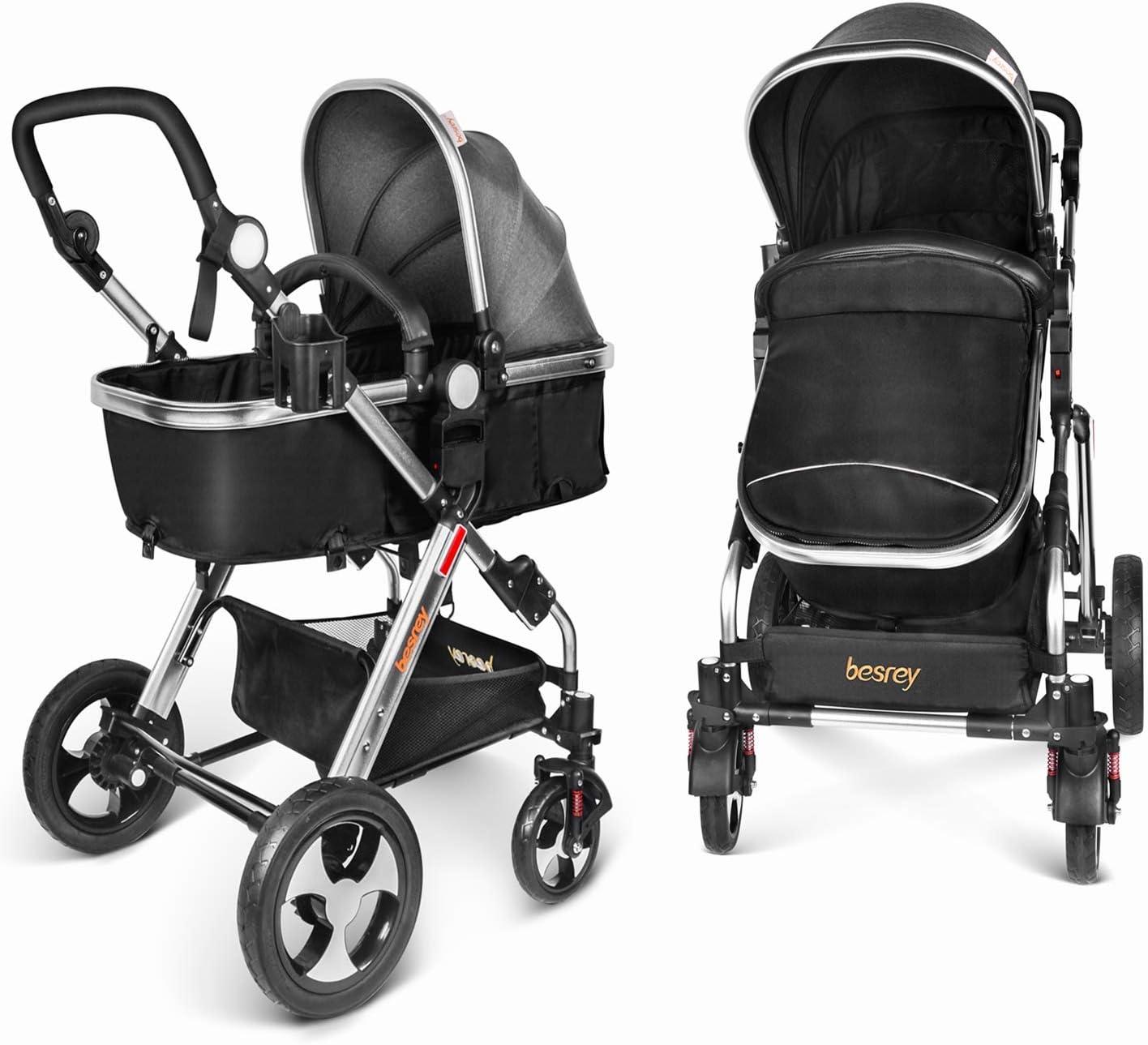 Besrey 2 en 1 Carro Bebe Carritos Bebe con capazo Silla de Paseo Reversible Cochecito Infantil 0-3 años Ruedas Grande