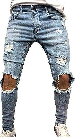 Men/'s Stretchy Ripped Skinny Biker Jeans Destroyed Tapered Slim Fit Denim Pants