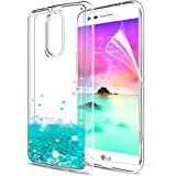 LG K20 V Case,LG K20 Plus Case,LG Harmony Case with HD Screen Protector for LeYi Liquid Glitter Sparkle Cute Girls Women Clear TPU Protective Case for LG K10 2017 ZX Turquoise