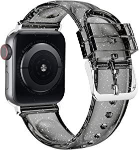 Wolait Compatible with Apple Watch Band 40mm 38mm, Premium Clear Glitter Soft Silicone Strap for iWatch Series 6 SE Series 5/4/3/2/1 Women Girls (38mm/40mm Black+Silver)
