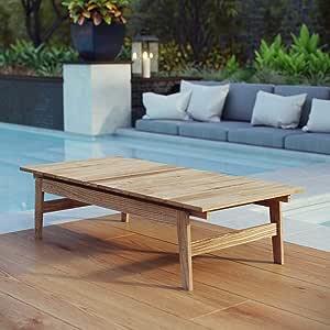 Amazon.com: Distressed Teak Coffee Table Natural Modern ...