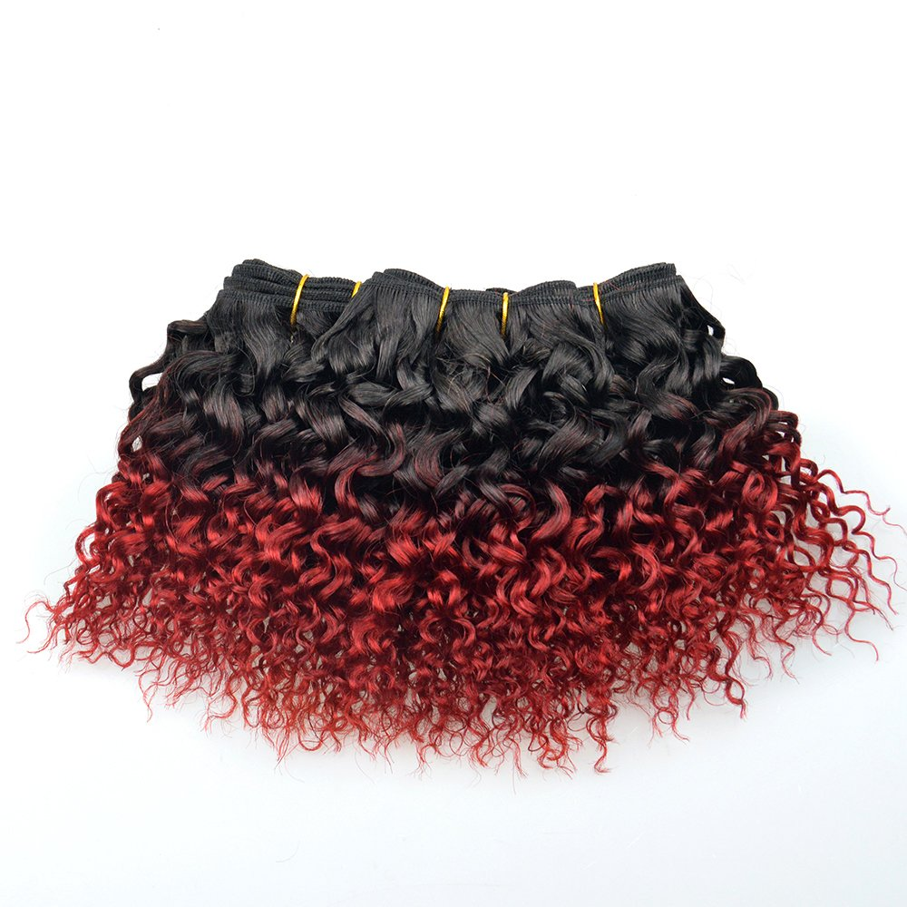 200g Brazilian Curly Hair 4 Bundles Ombre Red Hair Extensions T1b