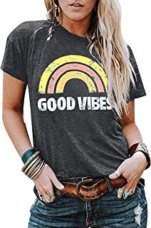 LAMOSKY Be Kind Tshirts Women Cute Colorful Letter Blessed Shirt Funny Inspirational Teacher Casual Tees Tops
