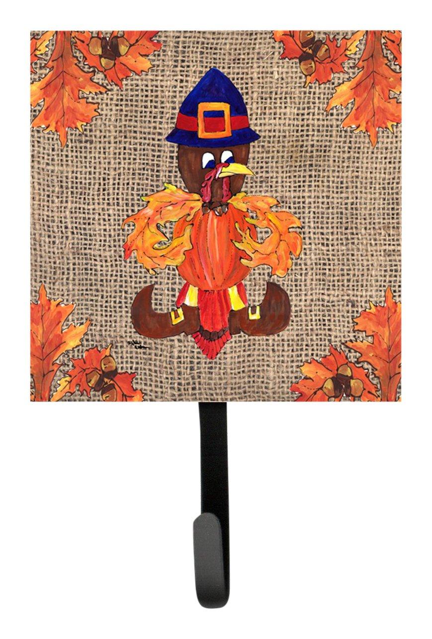 Small Carolines Treasures 8743SH4 Thanksgiving Turkey Pilgrim Fleur De Lis Leash Holder or Key Hook Multicolor