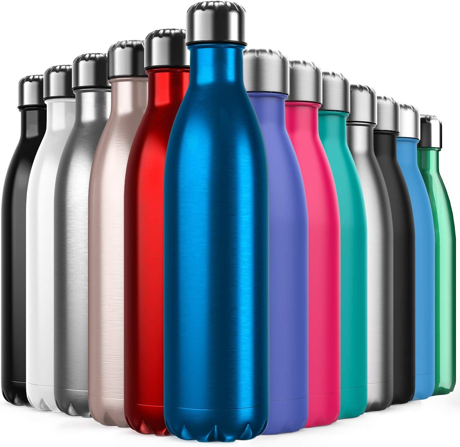 Invool Botella de Agua de Acero Inoxidable,Diseño de Pared Doble,Boca EstáNdar,para Correr,Gimnasio,Yoga,Ciclismo,750ML,Azul