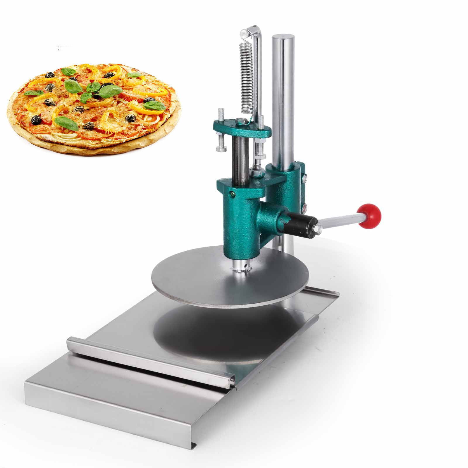 VEVOR Pizza Pastry Press Machine Stainless Steel Household Pizza Dough Pastry Manual Press Machine Metal Plate Diameter 20CM/7.87inch