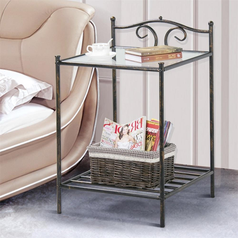 Yaheetech Modern End Side Table Nightstand Accent Table with Shelf Storage Chairside Table Home Furniture 32.2 High Glass Top