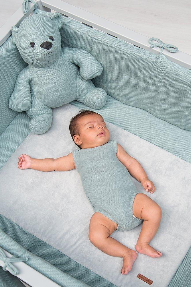 Babys Only klassisch gestrickte Krabbeldecke 85x100cm uni grau
