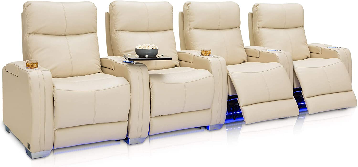 Seatcraft Solstice Home Theater Seating - Top Grain Leather - Power Recline - Power Lumbar - Power Headrest - USB Charging - in-Arm Storage - Lighted Cupholders and Baselighting (Row of 4, Cream)