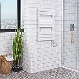 Sèche-serviettes plat mixte design 406 Watts 800 x 500 Blanc Salle de bains