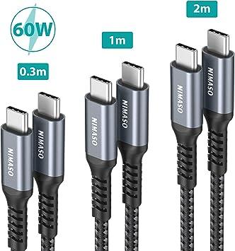 NIMASO Cable USB C a USB C(3 Pack:0.3m+1m+2m),Cable Tipo C Carga Rápida 60W 20V/3A Nylon Duradero Trenzado Compatible con Galaxy S20/S10,Huawei P30,Google Pixel 3a XL,iPad Pro 2020/2018,Macbook: Amazon.es: Electrónica