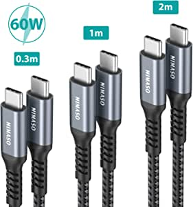 NIMASO Cable USB C a USB C(3 Pack:0.3m+1m+2m),Cable Tipo C Carga ...