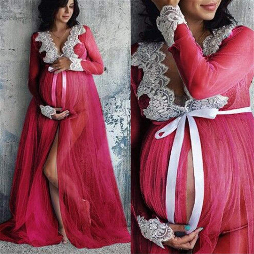 Maternity Dress for Women,Pregnancy Dress,Women Lace Maternity Dress WomenPregnancy Lace Long Maxi Dress Maternity Gown Photography Props Clothes Maternity Dress for Photoshoot