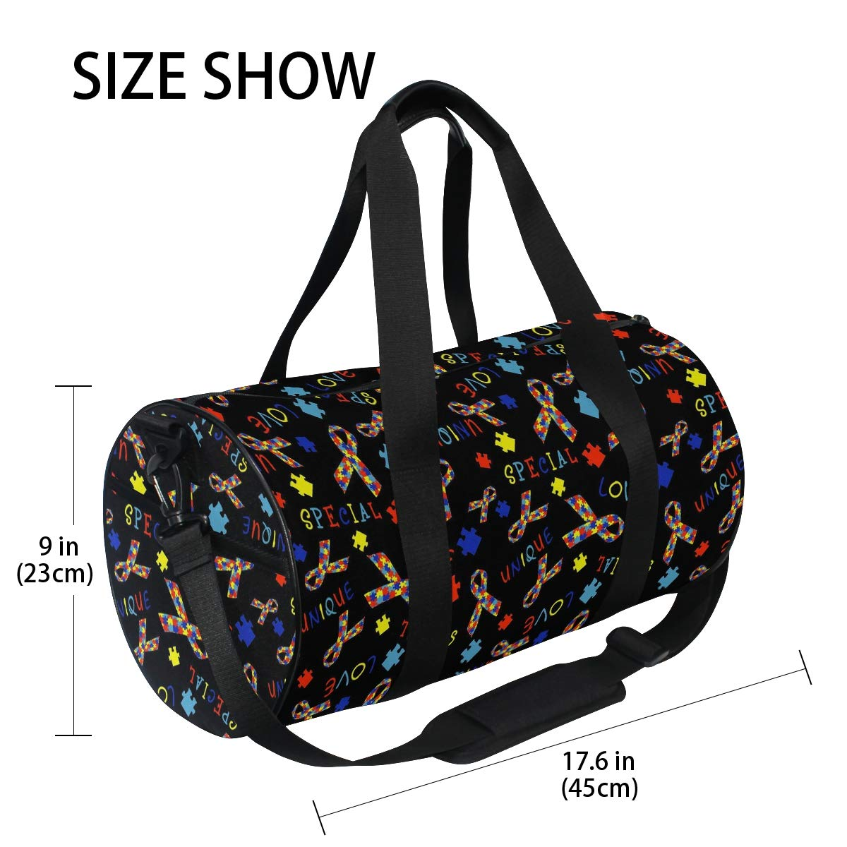 Autism Awareness Ribbon Travel Duffel Bag Sports Gym Duffel Bag Luggage Handbag for Men Women