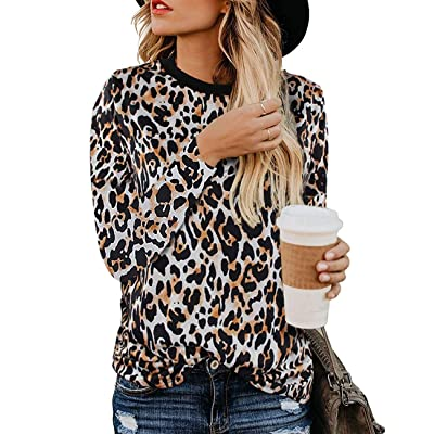 Women\'s Leopard Print Blouses Long Sleeve Crewneck Basic Casual Top Soft Shirts: Clothing [5Bkhe0204822]